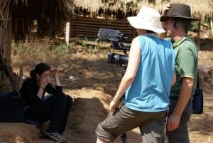 Gavin and Lena filming interviews with Mr Ja Hair and Mrs Ja Nae Nae, village leaders from Ban Pang Sa