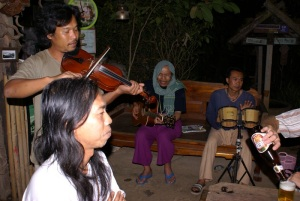 The Chiang Khong Conservation Group providing music for Lena's 18th birthday