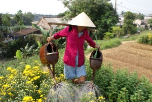 Woman watering the community garden in Hue