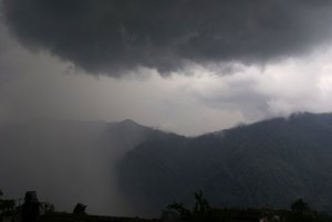 A massive thunderstorm in the afternoon. People were saying that the monsoon rains have come a month early
